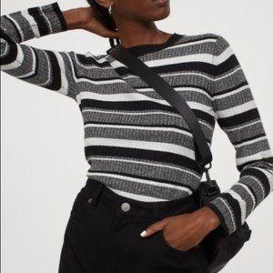 H&M Striped Fine Knit Top, Black White Grey, sz XS